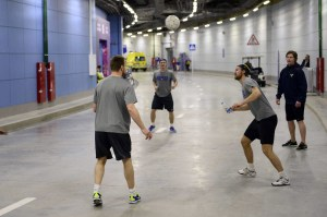 Backstrom plays some pre-game soccer.