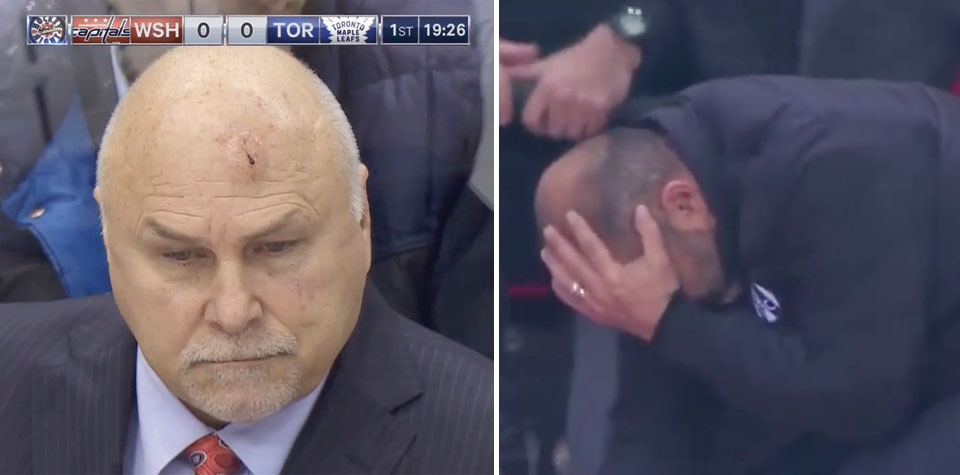 Barry Trotz's toughness goes viral after soccer coach gets hit by paper airplane and fakes injury