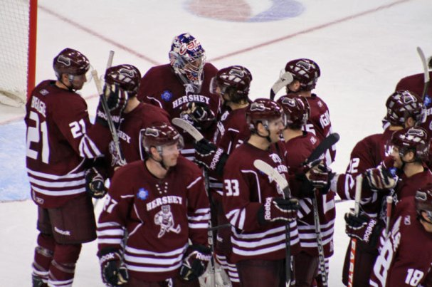 Bears congratulate Varly after 8-3 win.