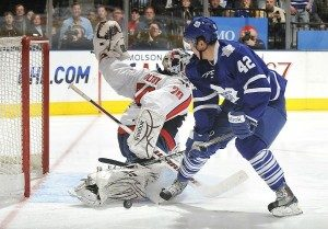 Braden Holtby stones Tyler Bozak on a breakaway. (Photo credit: Graig Abel)