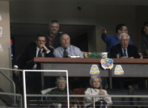 Bruce Boudreau and Bears President Doug Yingst take in the 9-2 Beatdown (Photo Kyle M.)