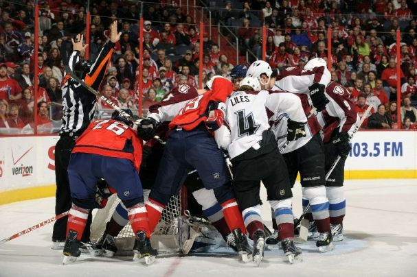 This was pretty much the scene all night. The Caps tried with all their might, but could not score.