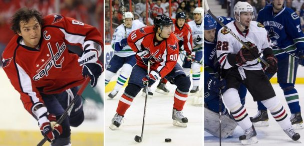 Alex Ovechkin, Marcus Johansson, and Troy Brouwer