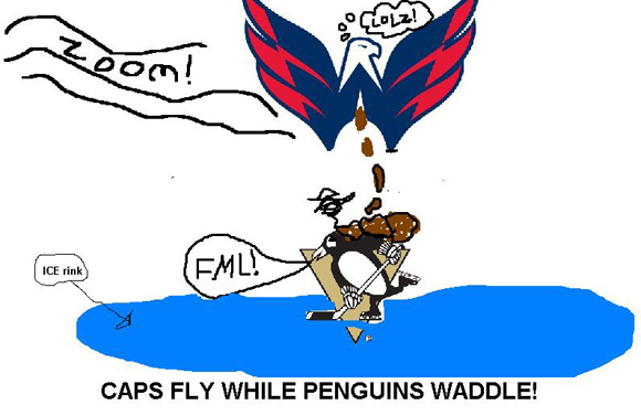 The Caps logo takes a dump on the Penguins logo
