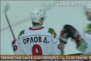 Dmitri Orlov celebrates his easiest goal ever. (Screenshot of video from uralvideosport.ru)