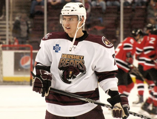 Dmitry Orlov during warm-ups with the Hershey Bears