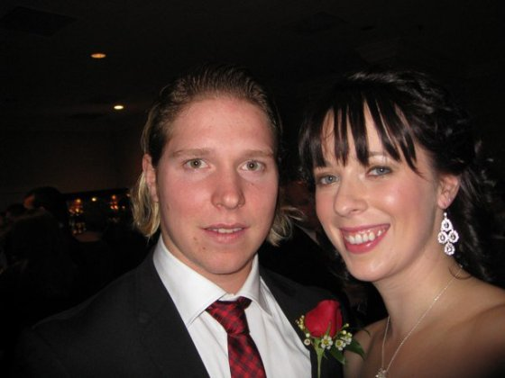 Nicklas Backstrom poses with Emily, we wonder where his buddies Hart and Selke are hiding in this photo