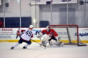 During Thursday's scrimmage, Galiev had 1G, 1A and the game's deciding shootout tally. On Saturday, his shootout goal shown here also pushed white to victory.