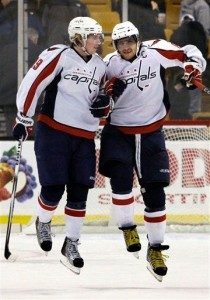 Nicklas Backstrom and Alex Ovechkin Celebrate Consecutive Win Number 11. (AP Photo/Elise Amendola)