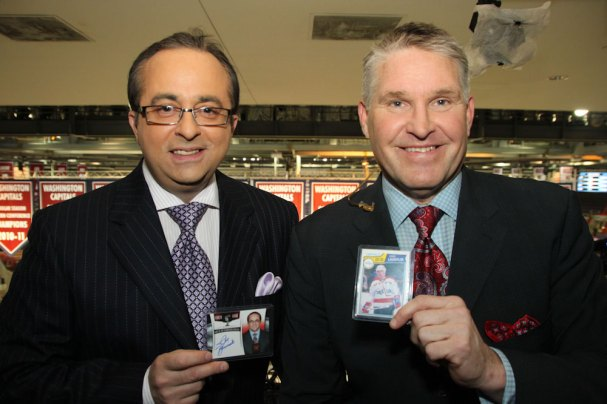 Joe Beninati and Craig Laughlin pose with their Rookie Cards