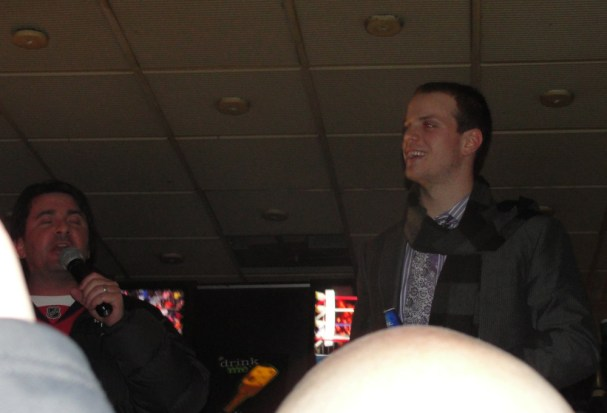 John Carlson and Elliot Segal on top of the bar at RFD