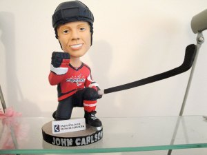 All people who donated blood, got a Carlson Jersey T-Shirt and this AWESOME bobblehead. (Photo by Suzanne Kang)