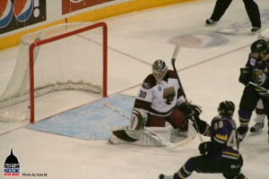 John Zeller scores on Neuvy after blown icing call.