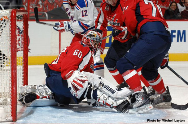 Jose Theodore Makes A Save Against The New York Rangers