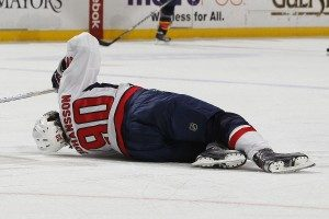 Marcus Johansson writhes in pain after blocking a shot on the PK. (Photo credit: Joel Auerbach)