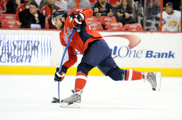 Mike Green shoots. Mike Green Scores. (Photo by Greg Fiume)