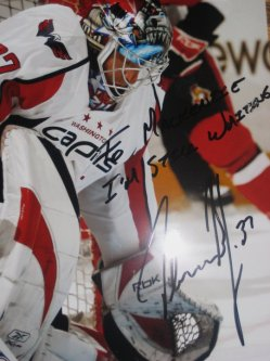 The signed photo reads To MacKenzie, Im still Waiting. Olaf Kolzig #37