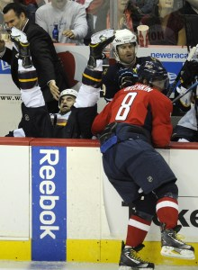 Ovechkin (9 hits) may not have scored, but the Trashers certainly felt his presence. (Photo credit: Nick Wass)
