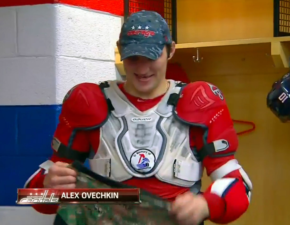 """Alex Ovechkin Wears """"In Memory of Lokomotiv"""" Patch Under His Jersey (Photo) 6c002cd14123"""
