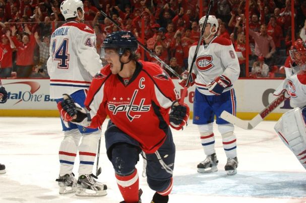 Ovechkin celebrates during Nick Backstrom's hat trick effort in playoff win over Montreal Canadiens