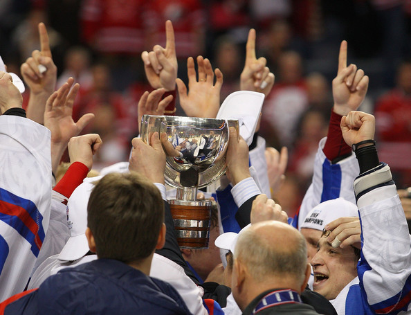 Russia celebrates with the cup