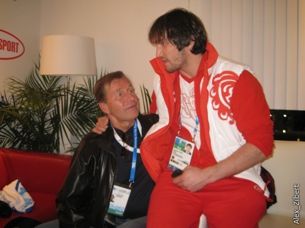 Sergei Fedorov's Dad Victor, sits with Alex Ovechkin at the 2010 Vancouver Olympics
