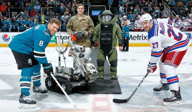 17acf9a23a0 A bomb-disposal robot dropped the puck before the Sharks-Rangers game