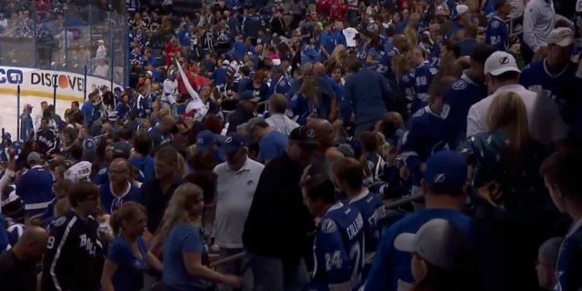 Here's a GIF of Tampa Bay Lightning fans flooding towards the exits