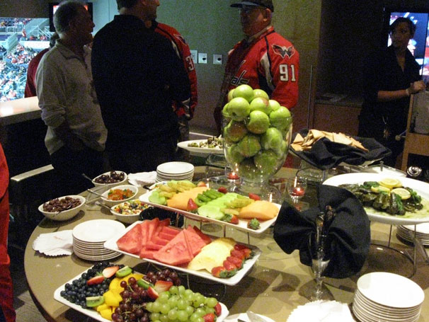 The snacks provided inside Ted Leonsis' Owner's Box