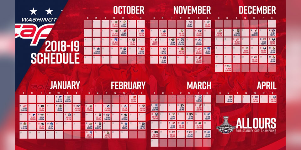 graphic relating to Detroit Red Wings Printable Schedule identify Heres the 2018-19 Washington Capitals month to month time timetable