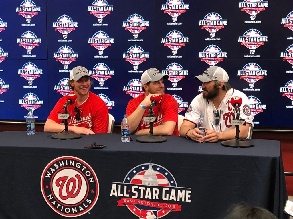 7bafddf82e4 Dehydrated Alex Ovechkin does Stanley Cup media at Nationals Park ...