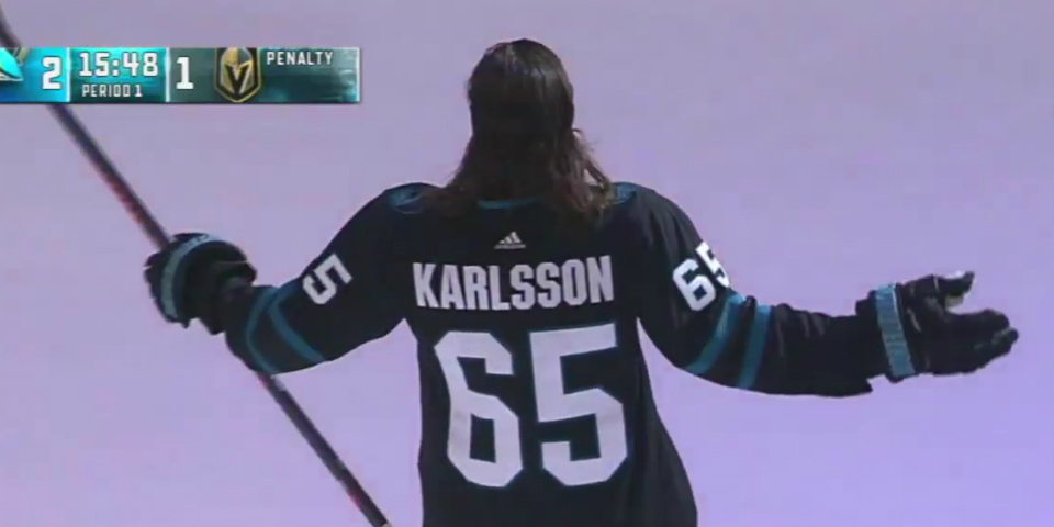 4c2684e5e Erik Karlsson made his San Jose debut in the Sharks new  stealth mode   jersey