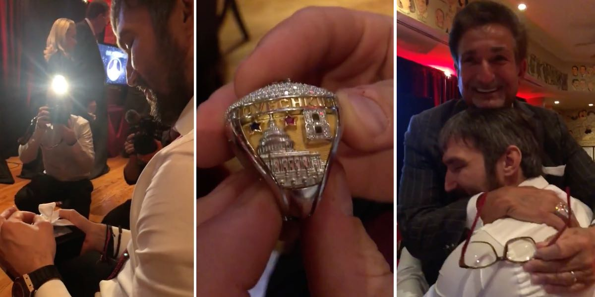 A stunned Alex Ovechkin hugged Ted Leonsis after seeing his championship ring for the first time