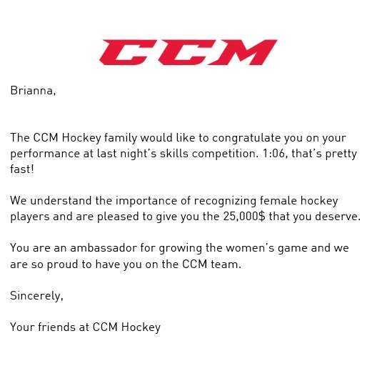 Brianna Decker to be paid $25K by CCM for skills competition
