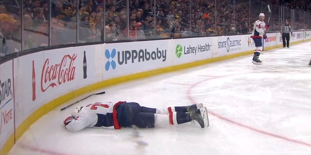 quality design b5f9b d88b4 TJ Oshie checked face first into glass by Kevan Miller ...
