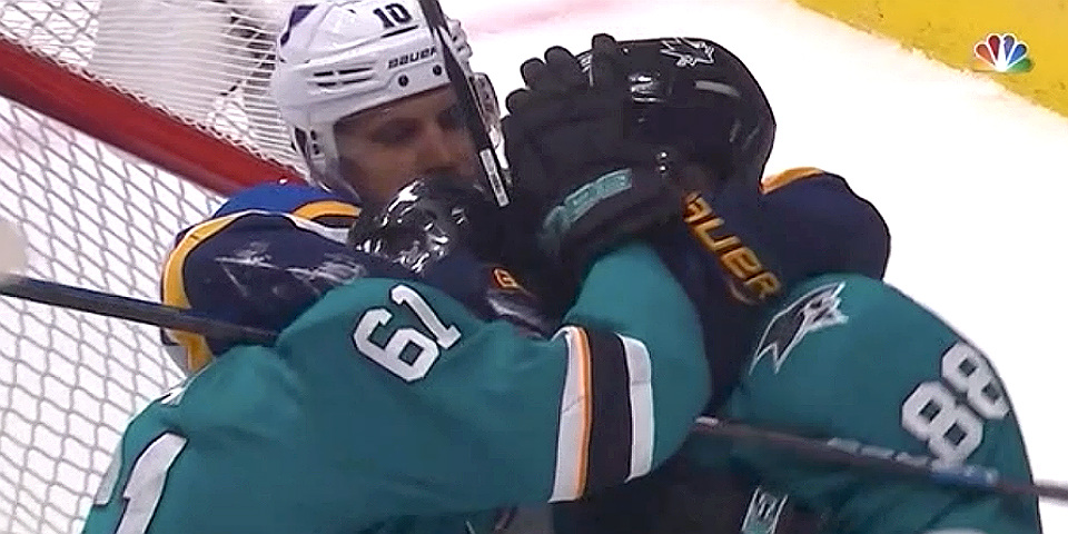 The Blues-Sharks game was a messy, injury-filled debacle