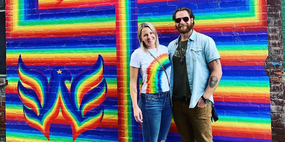 Braden Holtby And Wife Brandi Take Photo In Front Of Rainbow Capitals Mural Rmnb