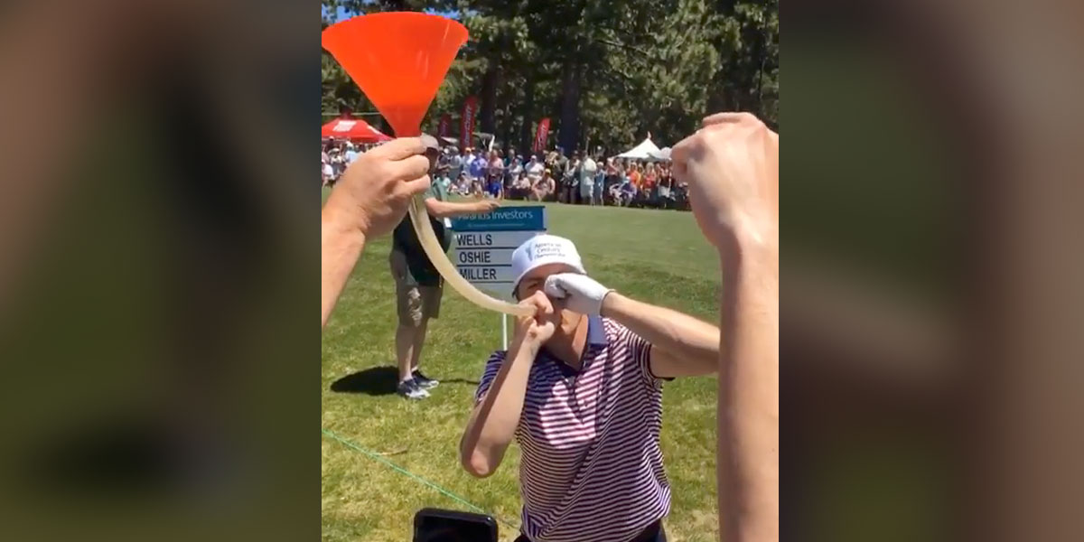 cheap for discount 50c3b fb1c8 TJ Oshie does beer bong with fans at American Century ...