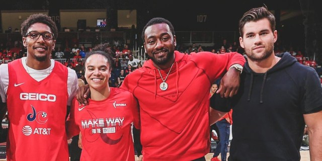 Tom Wilson attends Washington Mystics semifinal playoff game