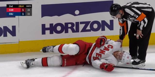 Hurricanes' Dougie Hamilton breaks fibula after leg bends awkwardly during fall