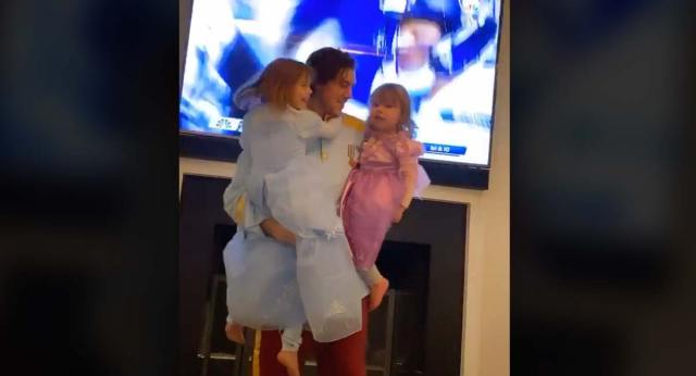 Prince TJ Oshie watched the Seahawks' playoff game while playing princess with his two daughters