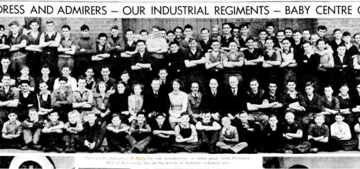 """AUTHORESS AND ADMIRERS -- OUR INDUSTRIAL REGIMENTS -- BABY CENTRE OPENED"" The Age (Melbourne, Vic. : 1854 - 1954) 29 April 1939: 27. Web. 7 Nov 2018"