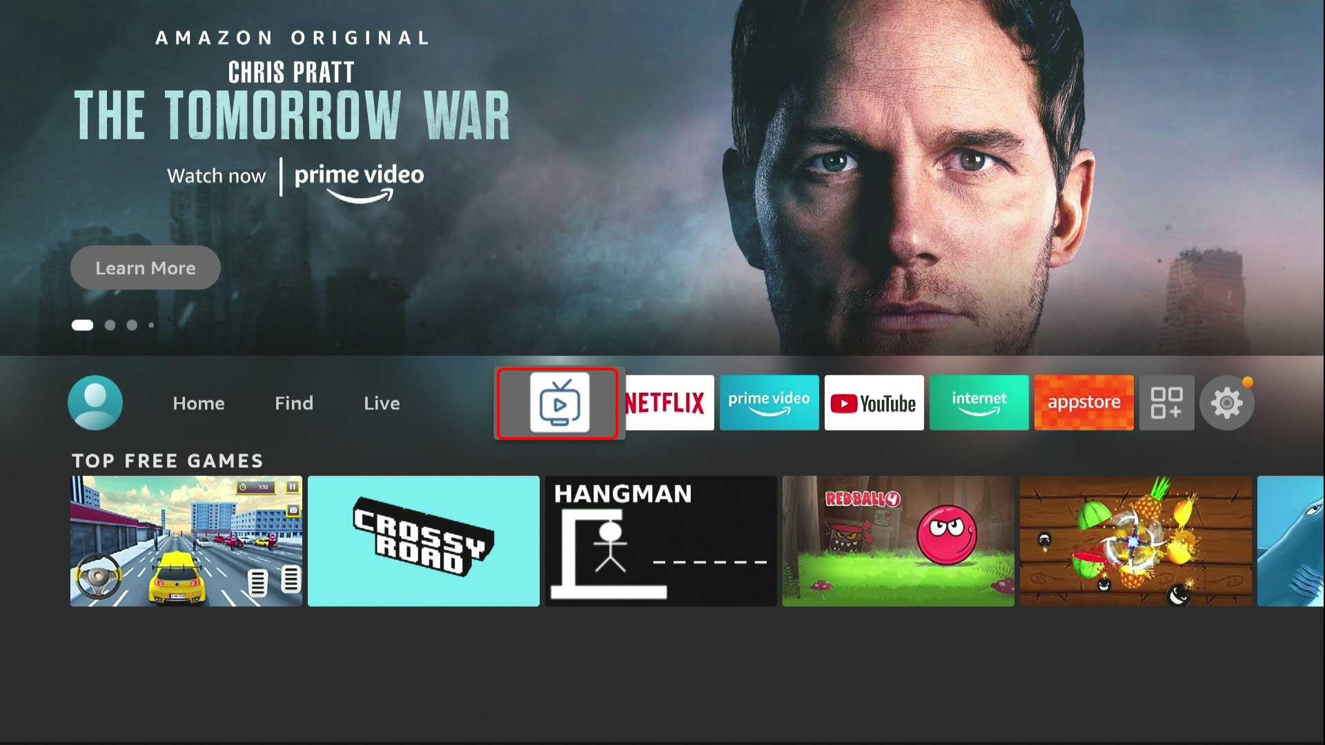 установленное приложение на домашнем экране Amazon Fire TV Stick