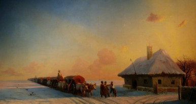 Ivan Aivazovsky - Closed-sleigh Drivers in Little Russia (1850s - 1860s). Oil on canvas.