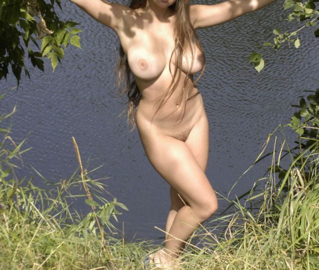 Teen With Really Big Boobs Posing Naked At River  Photos