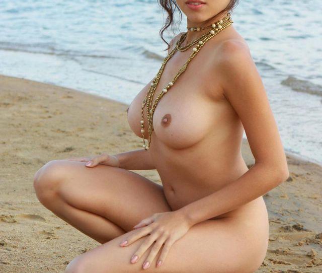 Naked Girl With Great Big Boobs Posing At The Lakes Beach Russian Sexy Girls