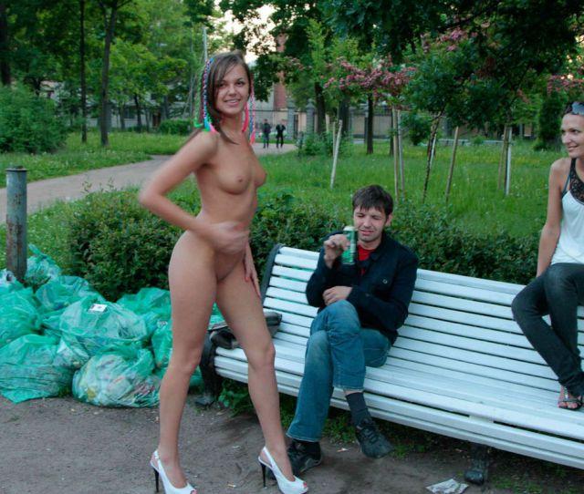 Shameless Russian Teen Slut Walks Naked Before Strangers At Park  Photos