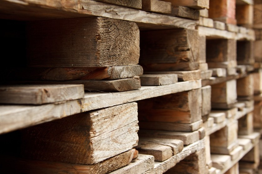 Wooden pallets stacked one on top another