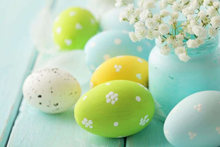 Pastel Eggs Around Flowers in Vase