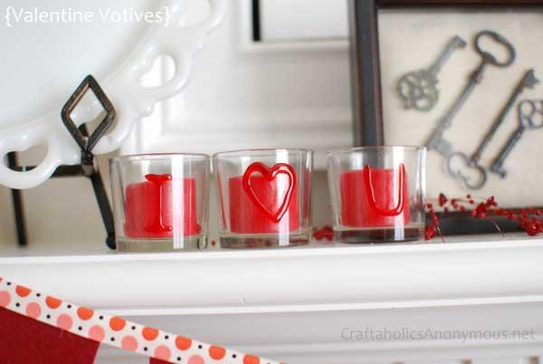 DIY valentine votive candle holders